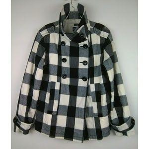 Gap Buffalo Plaid Pea Coat Jacket Sz Medium